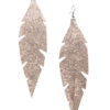 Grande Feathers Glitter Rose Gold Earrings