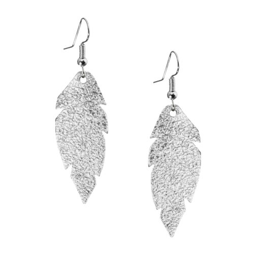 Viaminnet Petite Feathers Silver Foiled Earrings