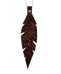 Viaminnet Feathers Grande Brown Zebra Print Leather Necklace
