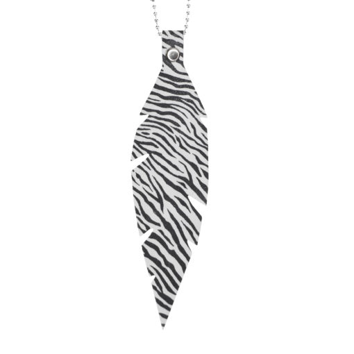 Feathers Grande Zebra White Necklace