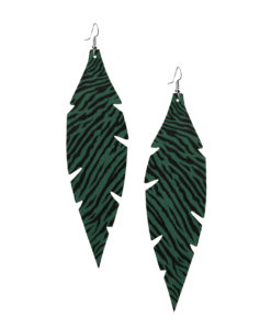 Feathers Grande Zebra Green Earrings