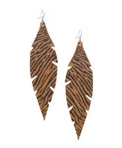 Viaminnet Feathers Grande Zebra Sand Leather Earrings