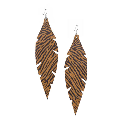 Feathers Grande Zebra Brown Earrings