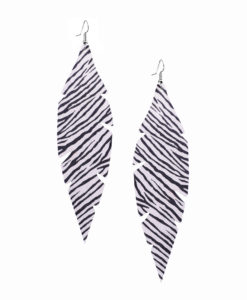 Viaminnet Feathers Grande Zebra White Leather Earrings