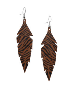 Viaminnet Feathers Midi Zebra Brown Leather Earrings