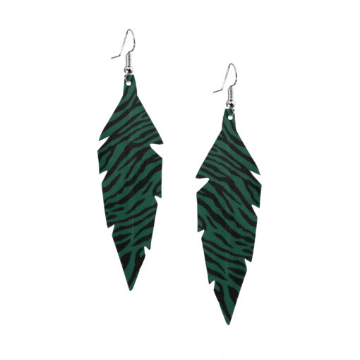 Feathers-Midi-Zebra-Green Earrings