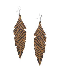 Viaminnet Feathers Midi Zebra Sand Leather Earrings