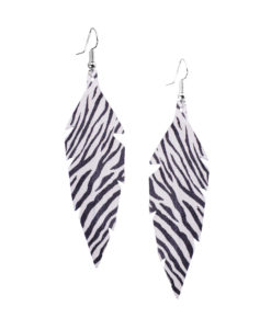 Feathers-Midi-Zebra-White Earrings