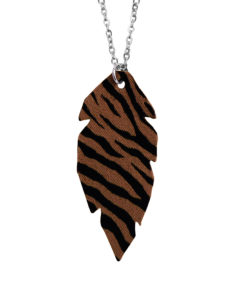 Viaminnet Feathers Petite Brown Zebra Print Leather Necklace