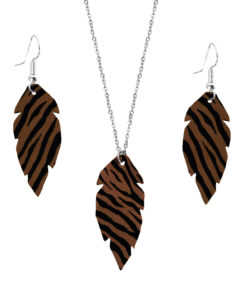 Viaminnet Feathers Petite Zebra Brown Jewellery Gift Set