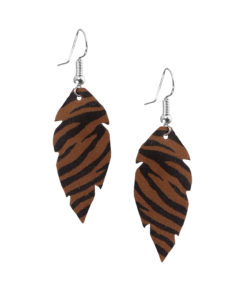 Viaminnet Feathers Petite Zebra Brown Leather Earrings