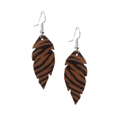 Feathers-Petite-Zebra-Brown-Earring