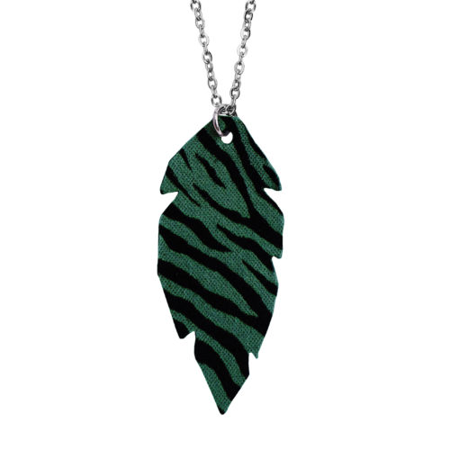 Feathers Petite Zebra Green Necklace