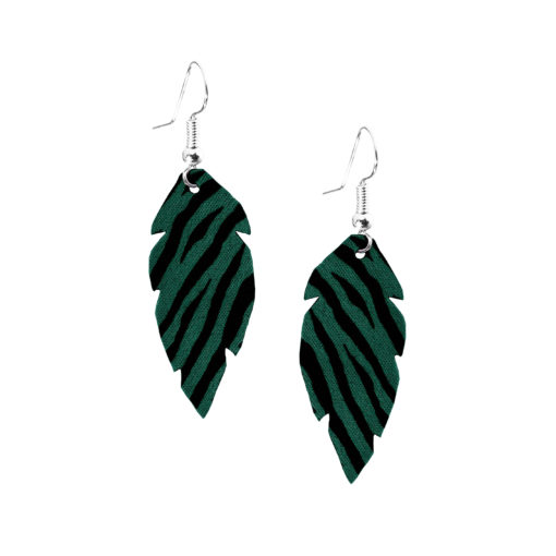 Feathers-Petite-Zebra-Green-Earring