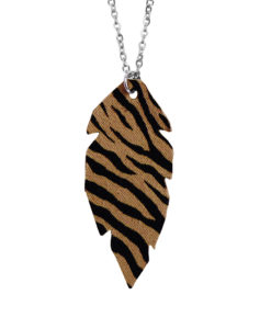 Viaminnet Feathers Petite Sand Zebra Print Leather Necklace