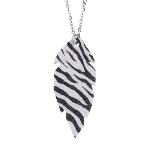 Feathers Petite Zebra White Necklace