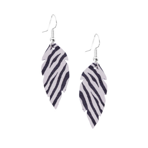 Feathers-Petite-Zebra-White-Earring