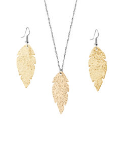 Feathers Petite Glitter Gold Set
