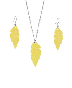 Viaminnet Feathers Petite Powder Yellowr Jewellery Gift Set