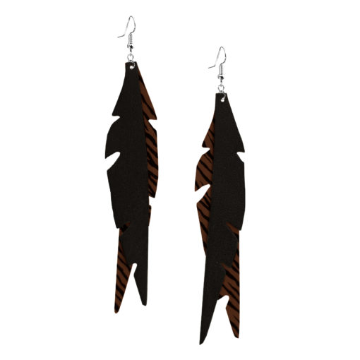 Feathers Glam Brown Zebra Earrings