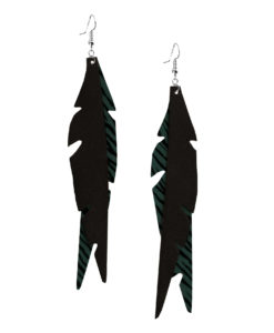 Viaminnet Feathers Glam Green Zebra Print Leather Earrings