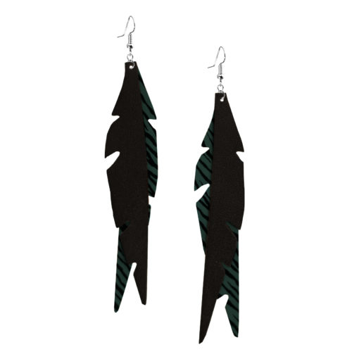 Feathers Glam Green Zebra Earrings