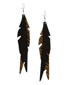 Viaminnet Feathers Glam Zebra Print Sand Leather Earrings