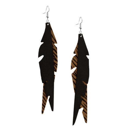 Feathers Glam Sand Zebra Earrings