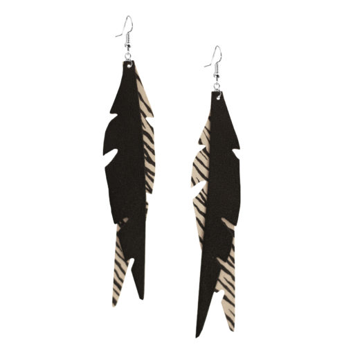 Feathers Glam White Zebra Earrings