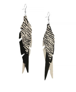 Viaminnet Feathers Fabulous Black Champagne Zebra Print Leather Earrings