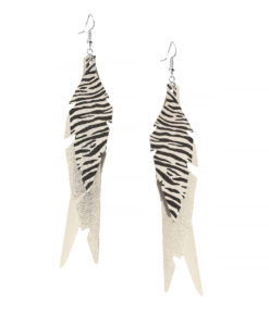 Feathers Fabulous Champagne Zebra Earrings