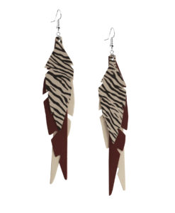 Feathers Fabulous Burgundy Zebra Earrings