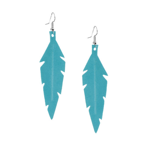 Feather Midi Turquoise Suede