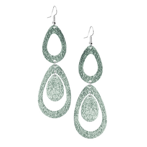 Sade Waterfall Petite Foiled Light Green Earrings