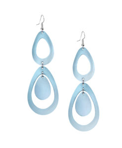 Sade Waterfall Petite Mirror Light Blue Earrings