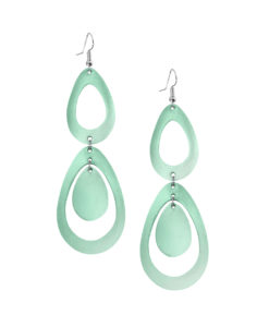 Sade Waterfall Petite Mirror Light Green Earrings