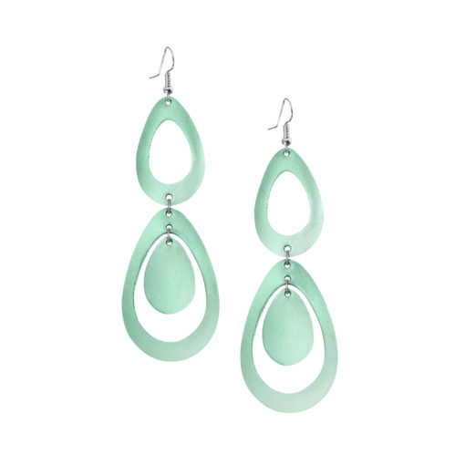 Sade Waterfall Petite Mirror Green Earrings