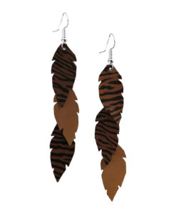 Viaminnet Feathers Petite Trio Zebra Print Brown Leather Earrings