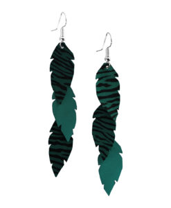 Viaminnet Feathers Petite Trio Zebra Print Green Leather Earrings