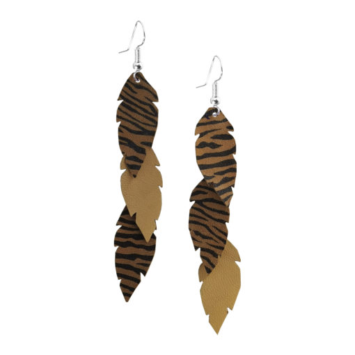 Feathers Petite Trio Sand Zebra Earrings