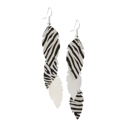 Feathers Petite Trio White Zebra Earrings