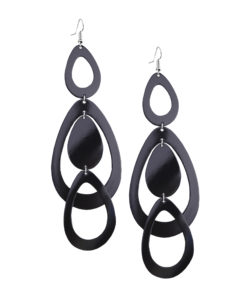 Viaminnet Sade Waterfall Grande Mirror Black Leather Earrings