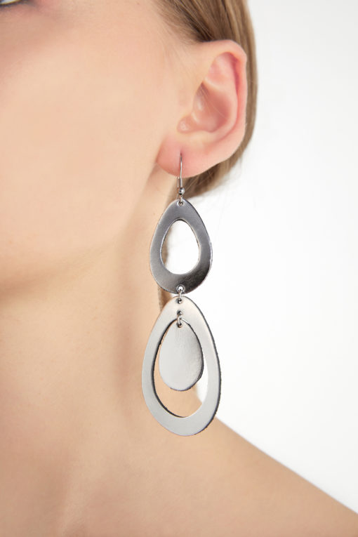 Viaminnet Sade Waterfall Petite Silver Mirror Earrings