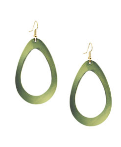 Viaminnet Sade Raindrop Grande Mirror Moss Green Leather Earrings