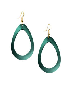 Viaminnet Sade Raindrop Petite Pine Green Mirror Leather Earrings