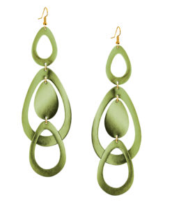 Sade Waterfall Grande Mirror Moss Green Earrings
