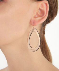 Viaminnet Sade Raindrop Petite Mirror Gold Leather Earrings