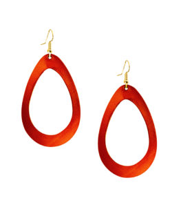 Viaminnet Sade Raindrop Grande Mirror Lingonberry Leather Earrings