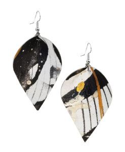 Viaminnet x Lotta Sirén Leather Earrings No. 303 Abstract Glamour