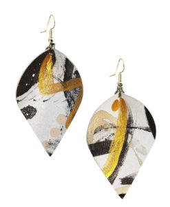 Viaminnet x Lotta Sirén Leather Earrings No. 305 Abstract Glamour